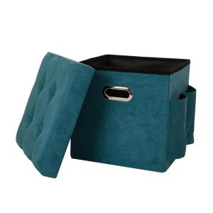Tremendous Glitzhome 15 In H Turquoise Cube Faux Suede Foldable Andrewgaddart Wooden Chair Designs For Living Room Andrewgaddartcom