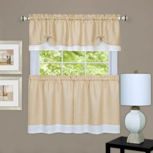 Achim 58 inch W x 24 inch L Darcy Polyester Tier and Valance Curtain Set - in Tan/White by Achim