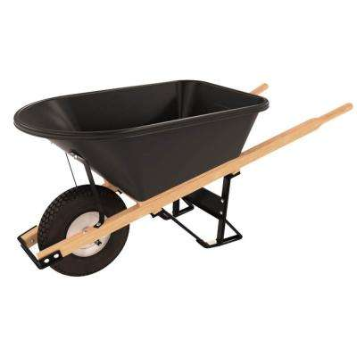 5-3/4 cu. ft. Poly Tray Wheelbarrow with 4-Ply Knobby Single Wheel Tire and Wood Handles