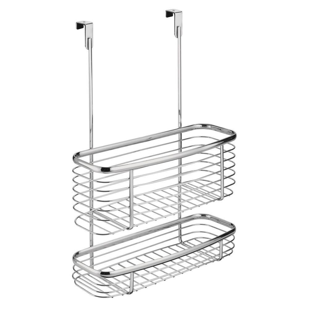 interdesign axis over the cabinet storage basket in chrome 56170 rh homedepot com over the cabinet basket target over the cabinet door basket