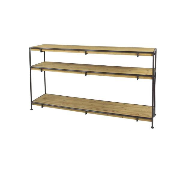 Litton Lane Industrial Rectangular Brown Wood and Dark Gray Metal Console