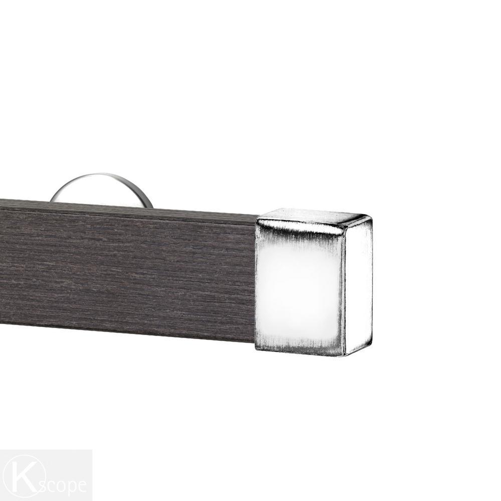 Kontur Wood 48 in. Non-Adjustable Single Traverse Window Curtain Rod Set in Barn Wood with Chrome Endcap