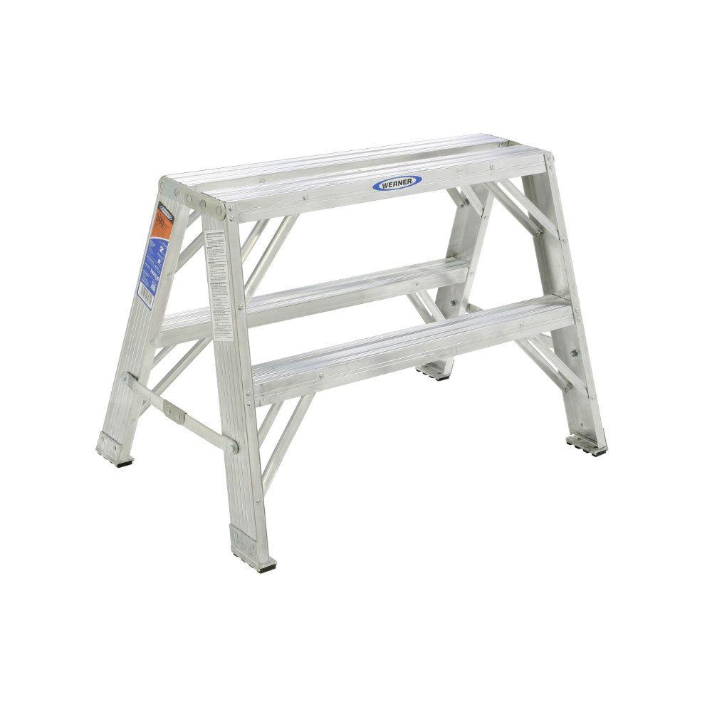 Werner 2 ft. Aluminum Step Ladder with 300 lb. Load Capacity Type IA Duty Rating