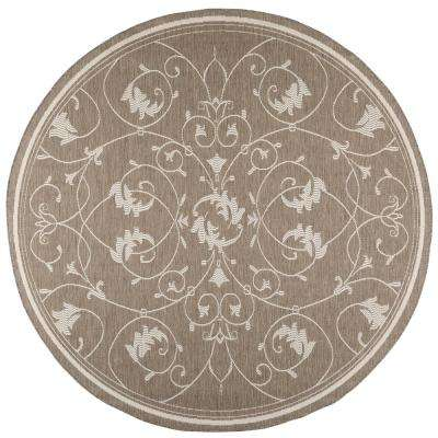 Tendril Taupe/Champagne 9 ft. x 9 ft. Round Indoor/Outdoor Area Rug