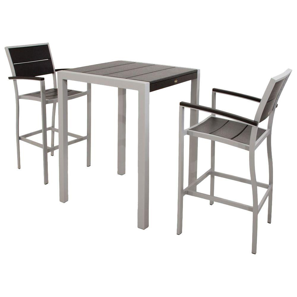 Trex Outdoor Furniture Surf City Textured Silver 3-Piece Patio Bar Set with Charcoal Black Slats