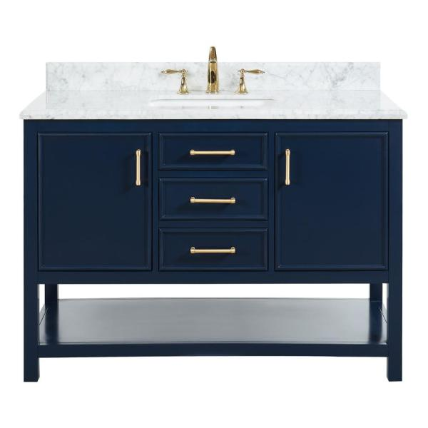 Tile Top Uptown 48 In W X 22 In D X 34 75 In H Bath Vanity In Navy Blue With Marble Vanity Top In White With White Basin Th0544 The Home Depot