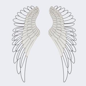 Luxen Home Wood Metal Angel Wings Wall Decor 2 Pieces