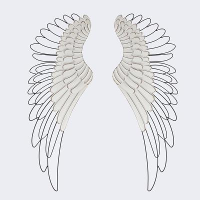 Wood & Metal Angel Wings Wall Decor (2-Pieces)
