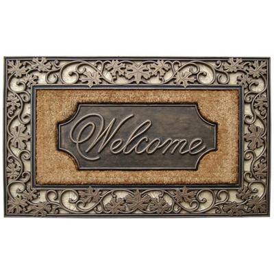 A1HC First Impression Brush Large 23 in. x 38 in. Rubber and Coir Door Mat