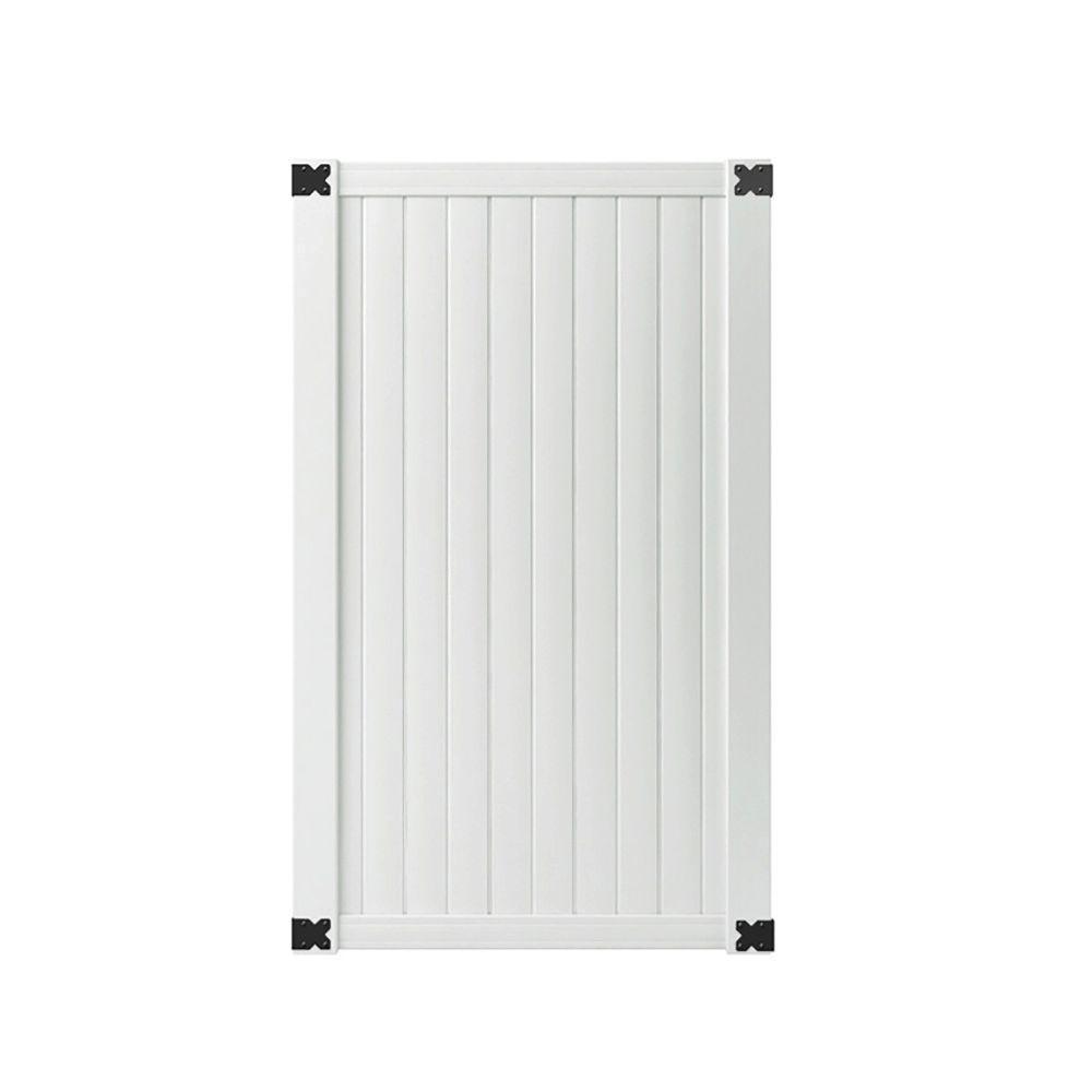 3-1/2 ft. W x 6 ft. H White Vinyl Somerset Vinyl Privacy Fence Gate