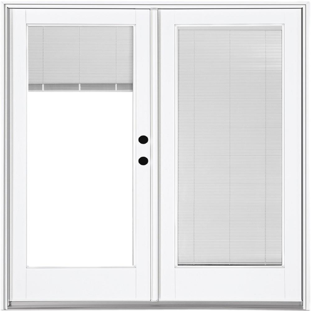 MP Doors 72 in. x 80 in. Fiberglass Smooth White Left-Hand Inswing Hinged Patio Door with Built in Blinds