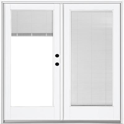 72 in. x 80 in. Fiberglass Smooth White Left-Hand Inswing Hinged Patio Door with Built in Blinds