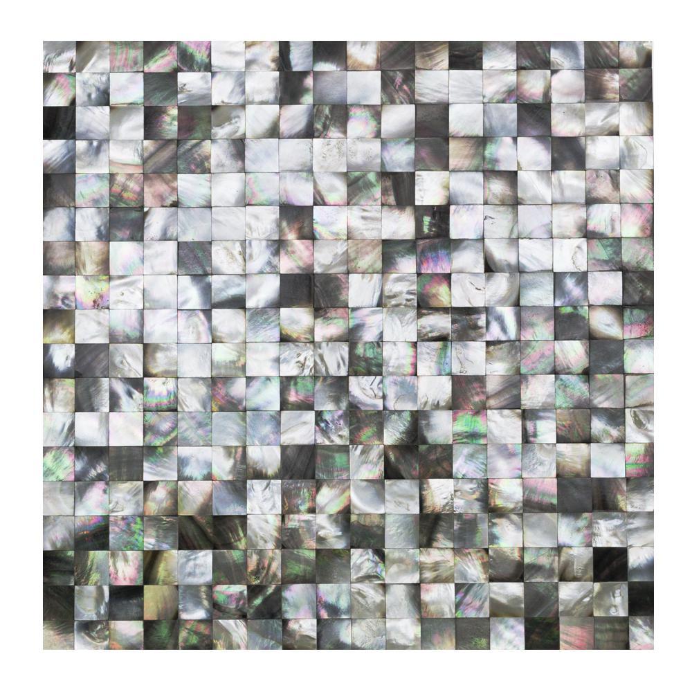 Splashback Tile Lokahi Coule Black Squares 12 in. x 12 in. x 2 mm ...