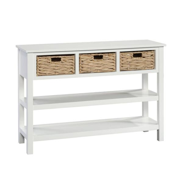 SAUDER Cottage Road White with Baskets Console Table