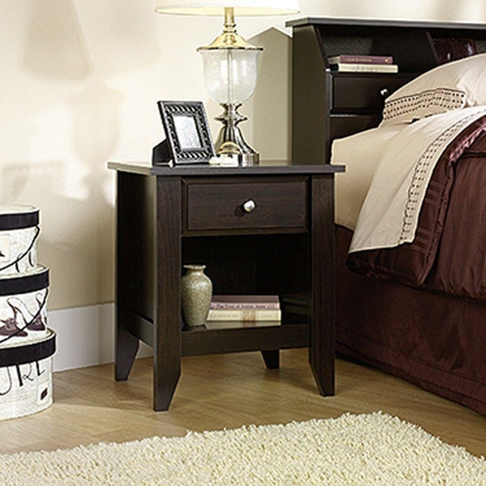 sauder bedroom furniture sauder shoal creek 1 drawer jamocha wood nightstand 409942 13118