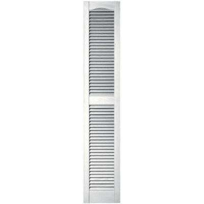12 in. x 64 in. Louvered Vinyl Exterior Shutters Pair in #117 Bright White
