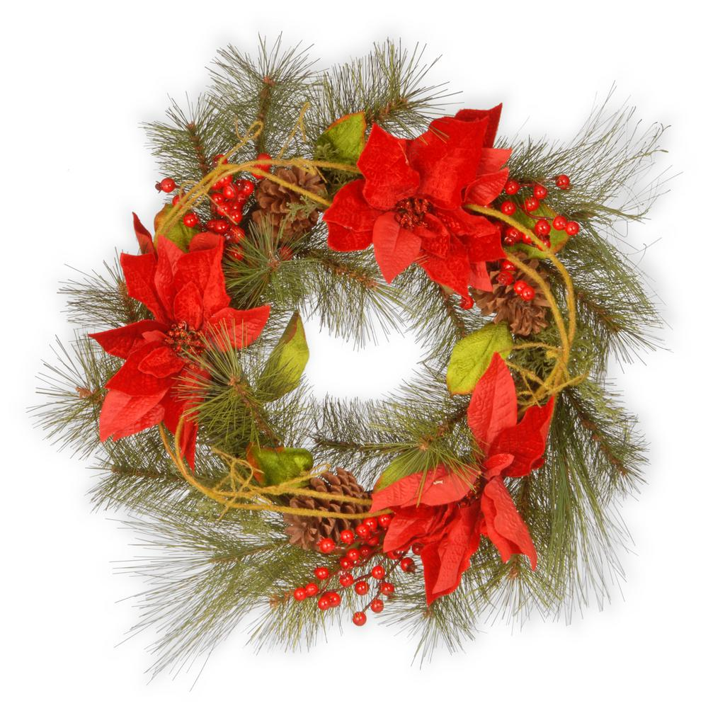 24 in. Red Poinsettia Artificial Wreath
