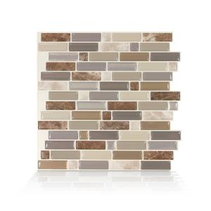 Crescendo Terra 9.73 in. W x 9.36 in. H Brown and Beige Peel and Stick Decorative Mosaic Wall Tile Backsplash