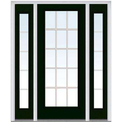 60 in. x 80 in. Internal Grilles Left-Hand Inswing Full Lite Clear Painted Steel Prehung Front Door with Sidelites