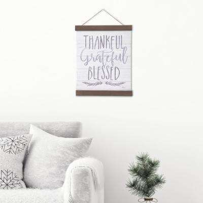 Thankful Grateful Blessed Hanging Canvas Wall Art