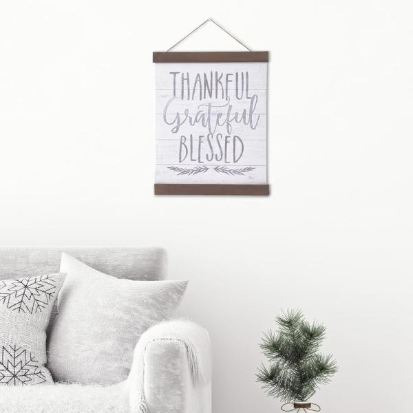 Pinnacle Thankful Grateful Blessed Hanging Canvas Wall Art