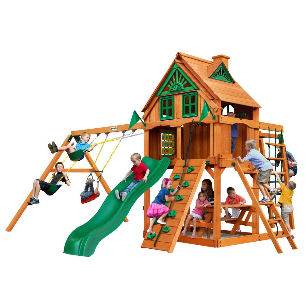 Gorilla Playsets Navigator Treehouse Wooden Swing Set with Fort Add-On and Monkey Bars