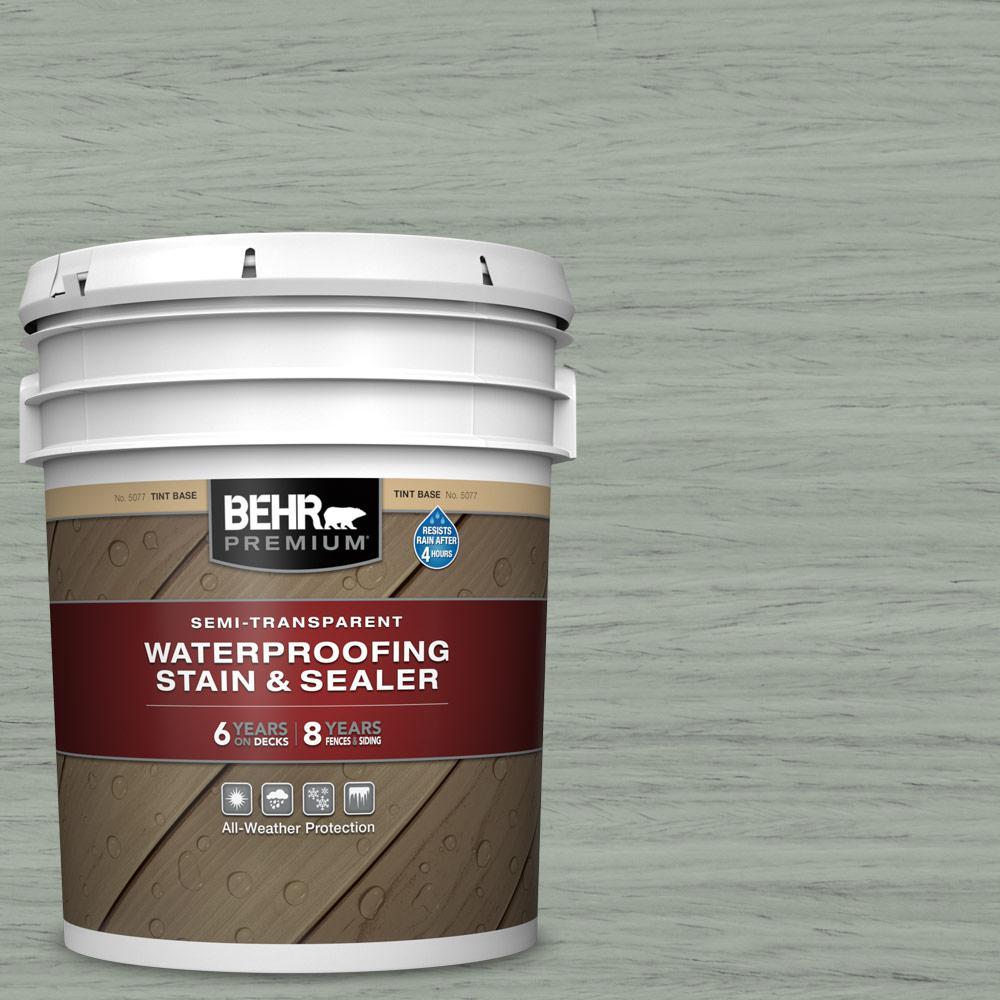 BEHR PREMIUM 5 gal. #ST-149 Light Lead Semi-Transparent Waterproofing Exterior Wood Stain and Sealer
