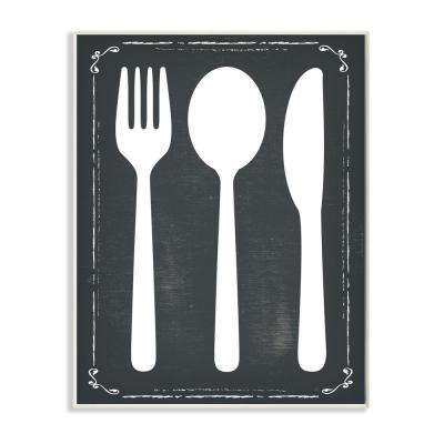 """12.5 in. x 18.5 in. """"Black and White Utensils Silhouette"""" by ND Art Printed Wood Wall Art"""