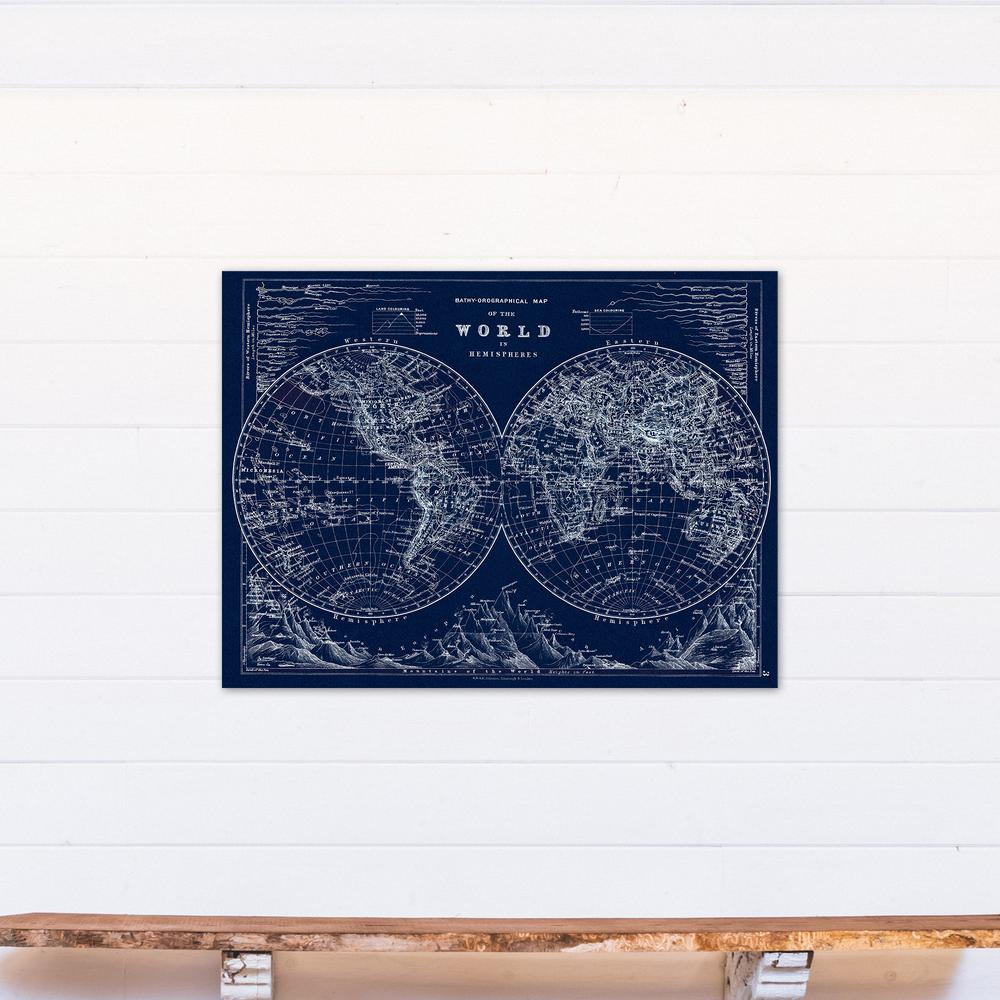 designs direct 30 in x 40 in hemispheres blueprint printed