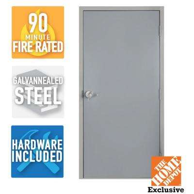 36 in. x 84 in. Fire-Rated Gray Left-Hand Flush Steel Commercial Door with Knock Down Frame and Hardware