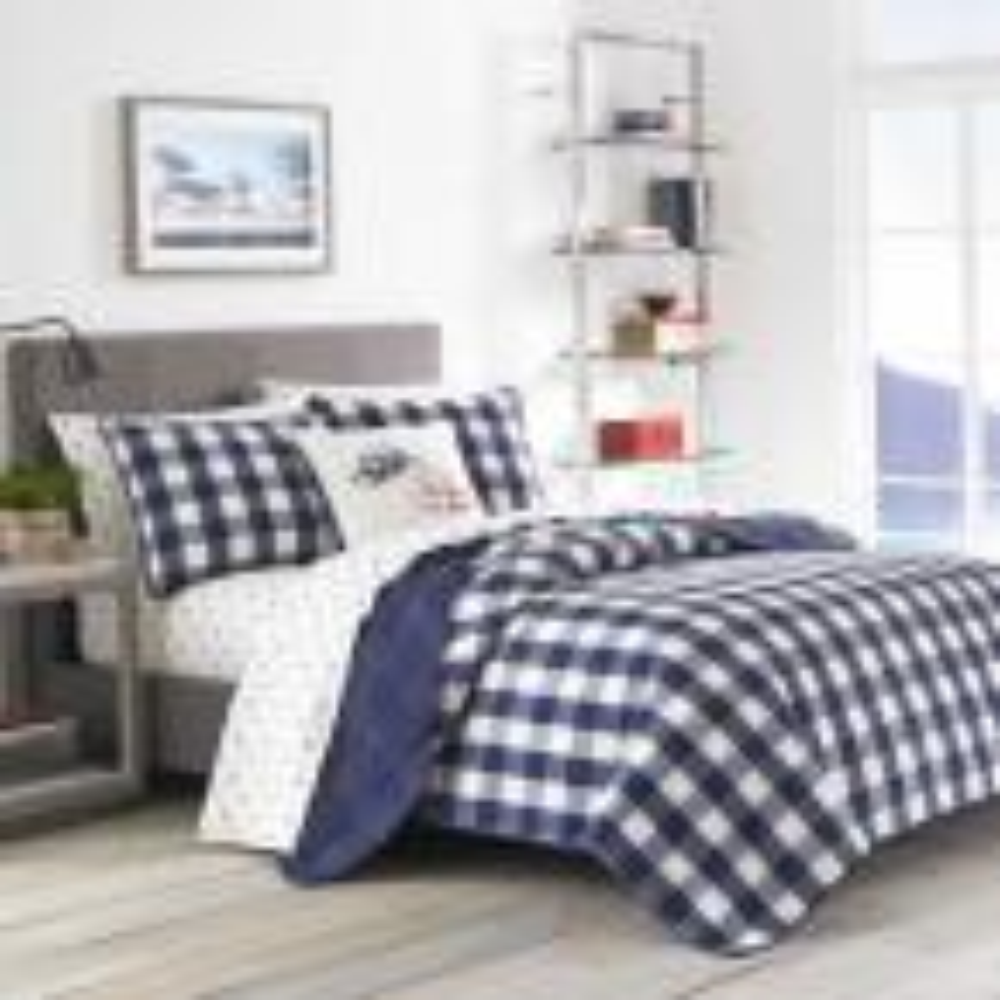 Lake House 3-Piece Navy Plaid Cotton King Quilt Set