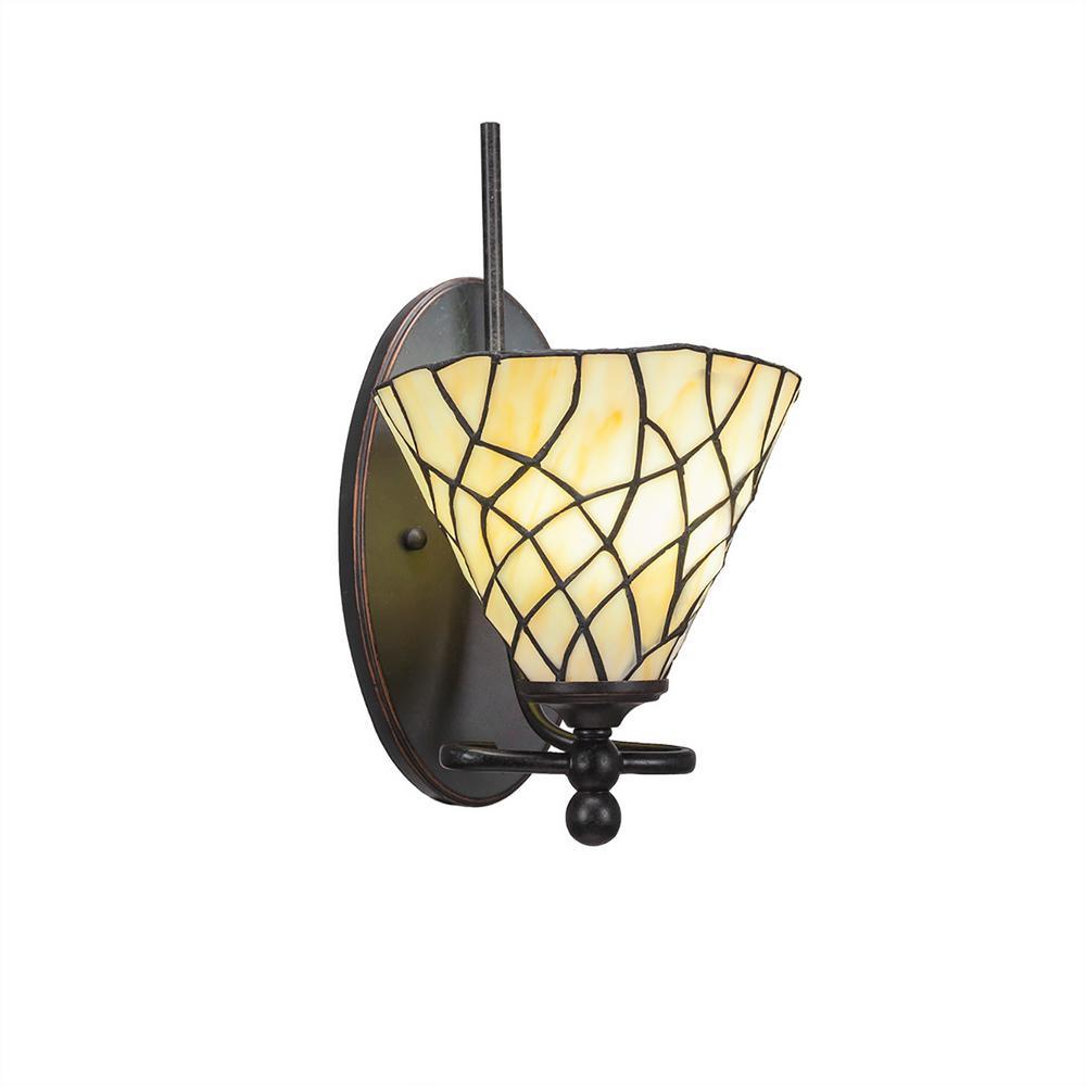 1-Light Dark Granite Sconce with Sandhill Tiffany-Style Glass