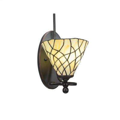1-Light Dark Granite Sconce with Sandhill Tiffany-Style Glass