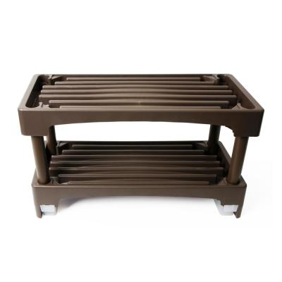 22.5 in x 15.5 in. 8-Pair 2-Shelf Polypropylene Shoe Rack with Water Drainage