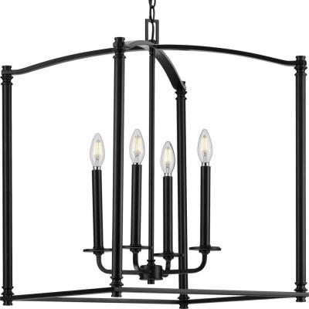 Winslett 4-Light Black Foyer Pendant