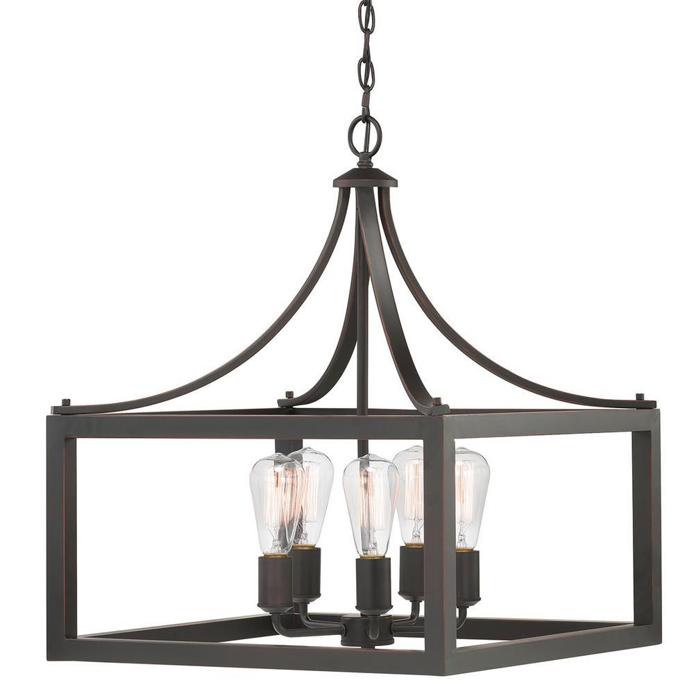 Boswell Quarter 5-Light Distressed Black Pendant