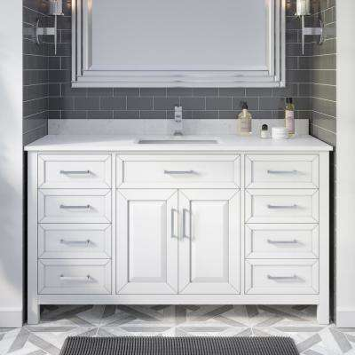Terrence 60 in. W x 22 in. D Bath Vanity in White ENGRD Stone Vanity Top in White with White Basin Power Bar-Organizer