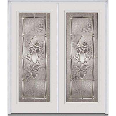 64 in. x 80 in. Heirlooms Right-Hand Inswing Full Lite Decorative Painted Fiberglass Smooth Prehung Front Door