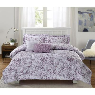 Amanda 5-Piece Purple King Comforter Set