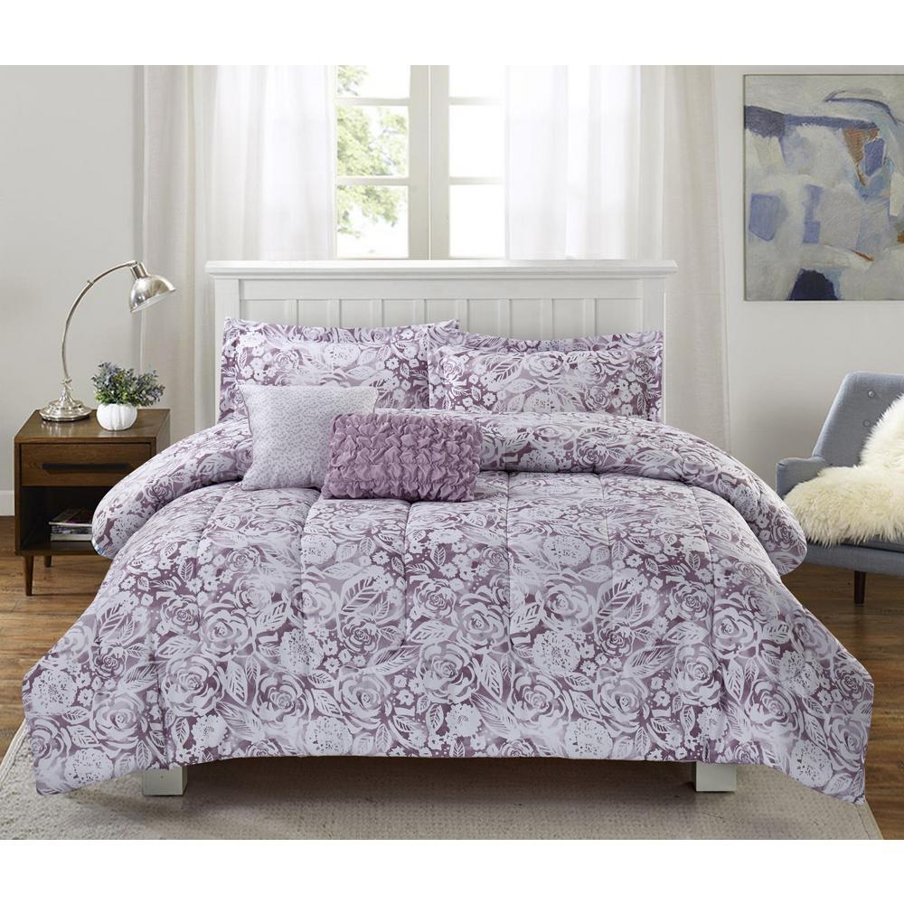 Amanda Floral 5 -Piece Full/Queen Comforter Set