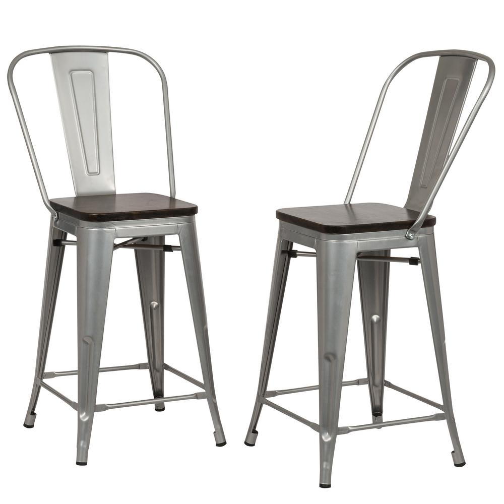 Carolina Forge Ash 24 In Silver Wood Seat Counter Stool Set Of 2