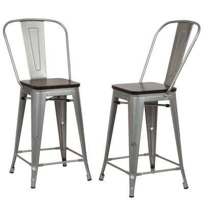 Ash 24 in. Silver Wood Seat Counter Stool (Set of 2)