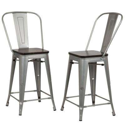 Counter 24 27 Wood Silver Bar Stools Kitchen Dining Room