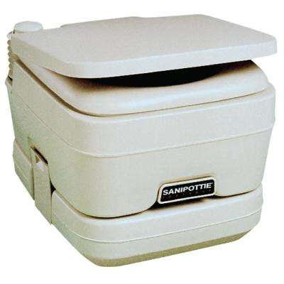 2.5 Gal. Adult Size SaniPottie 962 Portable Toilet with Bellows Flush in White