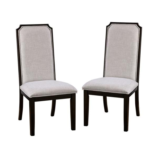 Furniture of America Keitaro Espresso and Gray Side Chairs (Set of