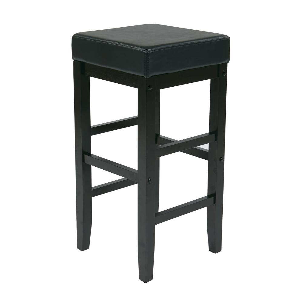 OSP Home Furnishings Black 30 in. Faux Leather Square Bar Stool with Espresso Legs, Black/Espresso OSP Home Furnishings Black 30 in. Faux Leather Square Bar Stool with Espresso Legs, Black/Espresso.
