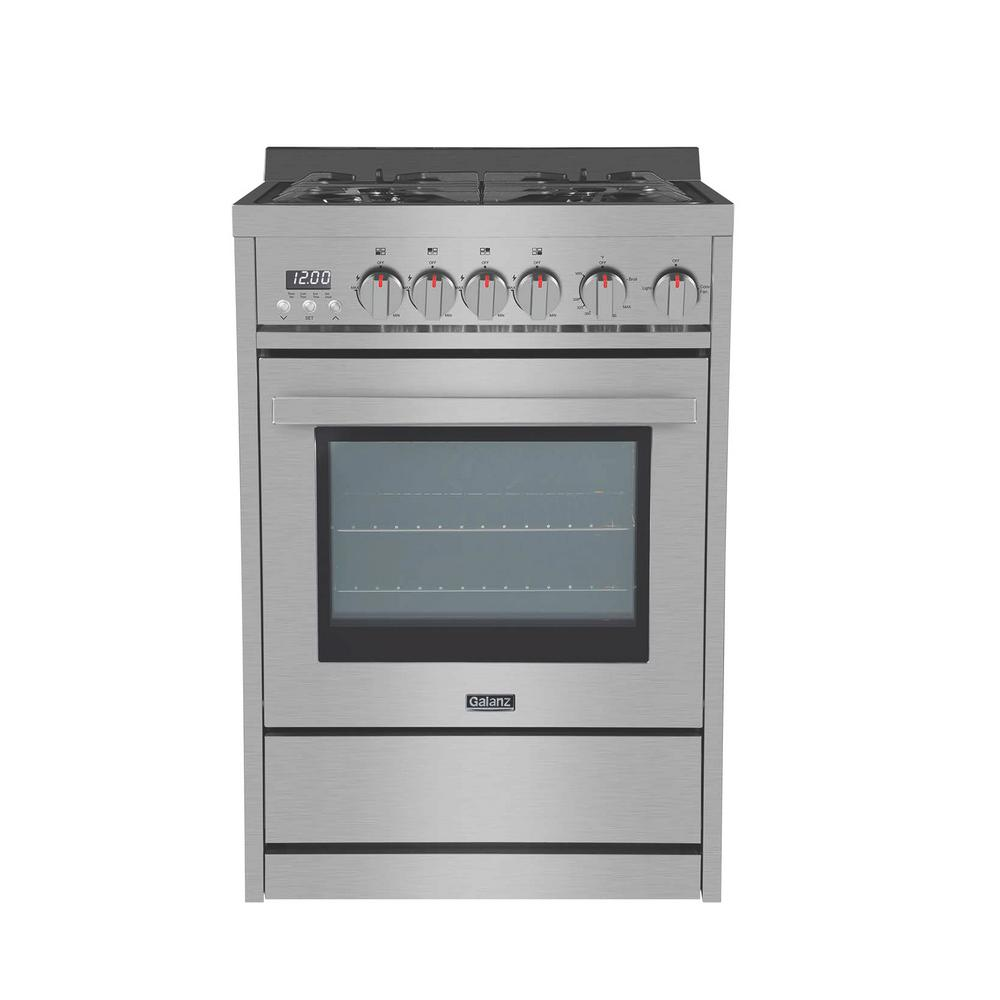 Galanz 24 In 2 7 Cu Ft Gas Range In Stainless Steel With Oven Gl1fr24assagn The Home Depot