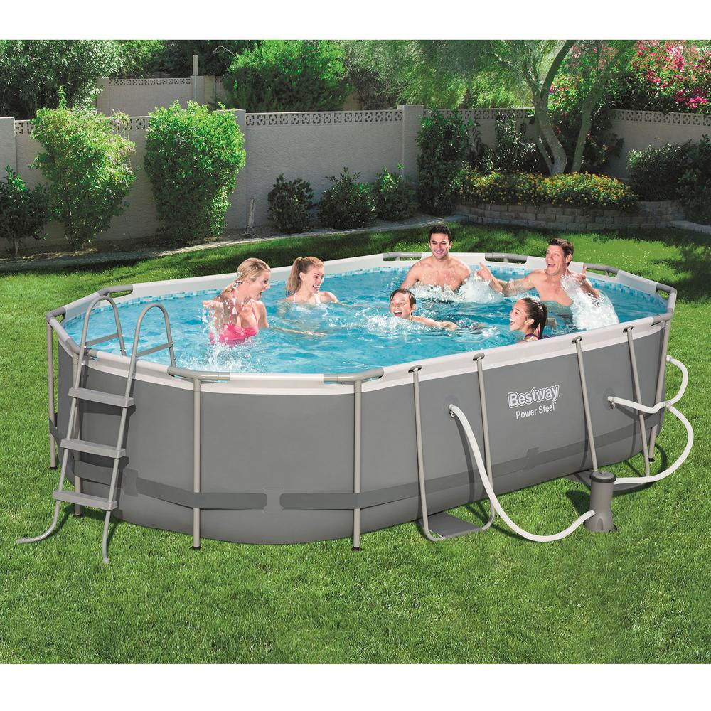 Bestway Bestway Power Steel 16 ft. x 10 ft. Metal Above Ground Swimming  Pool Set with Pump