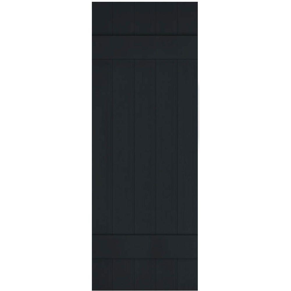 Ekena Millwork 17 1 2 In X 39 In Lifetime Vinyl Custom Five Board Joined Board And Batten Shutters Pair Black Lj5c17x03900bl The Home Depot