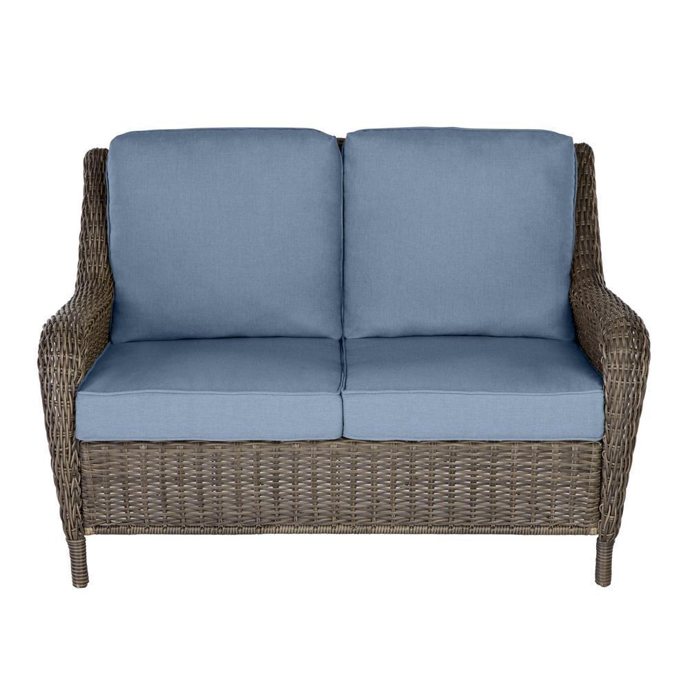 Cambridge Gray Wicker Outdoor Patio Loveseat with Sunbrella Denim Blue Cushions